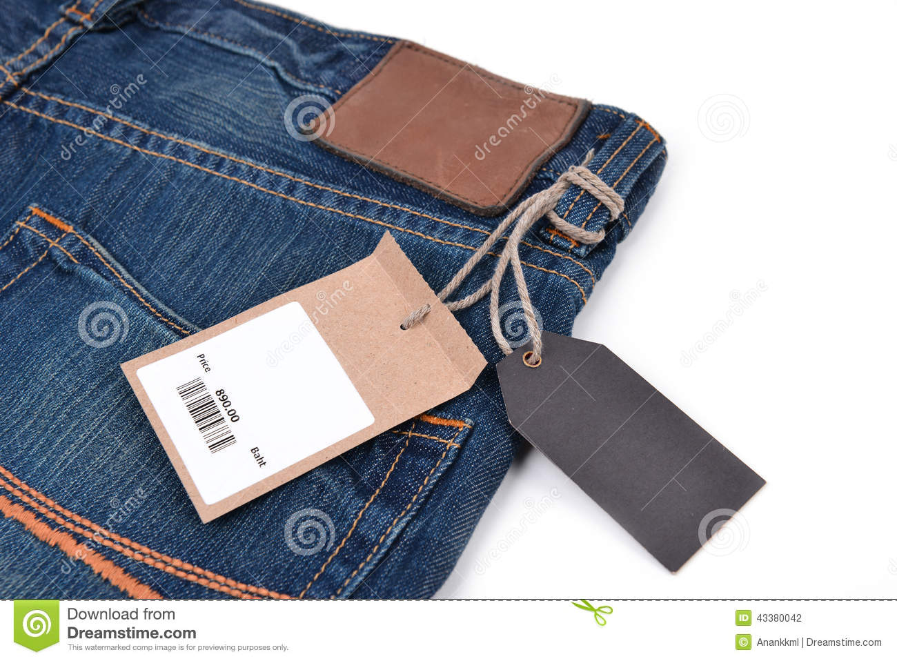 price tag with barcode on jeans stock photo image 43380042