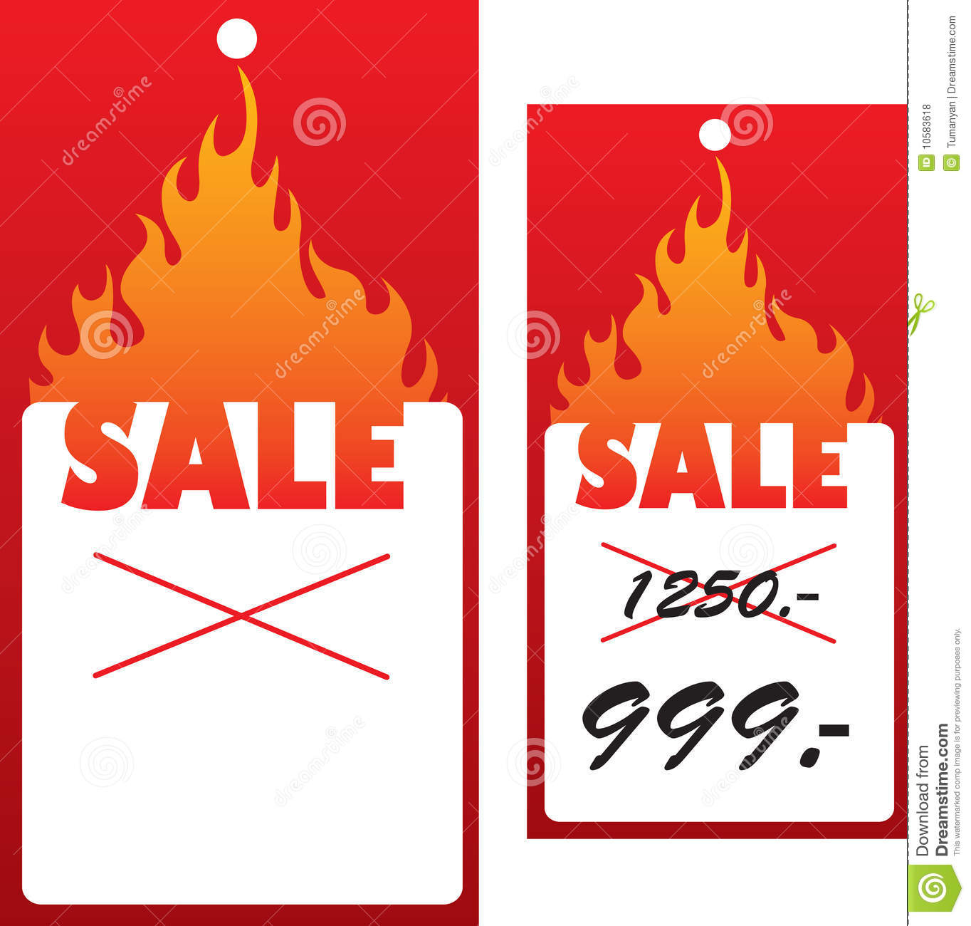 price tag with flame stock vector illustration of economy 10583618