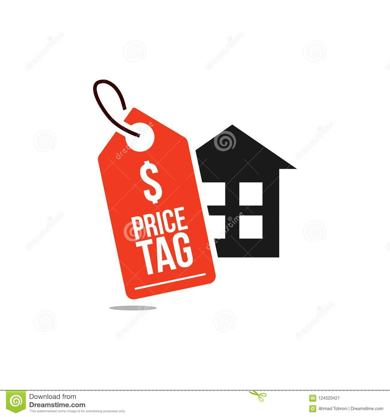 price tag home vector template design illustration stock vector