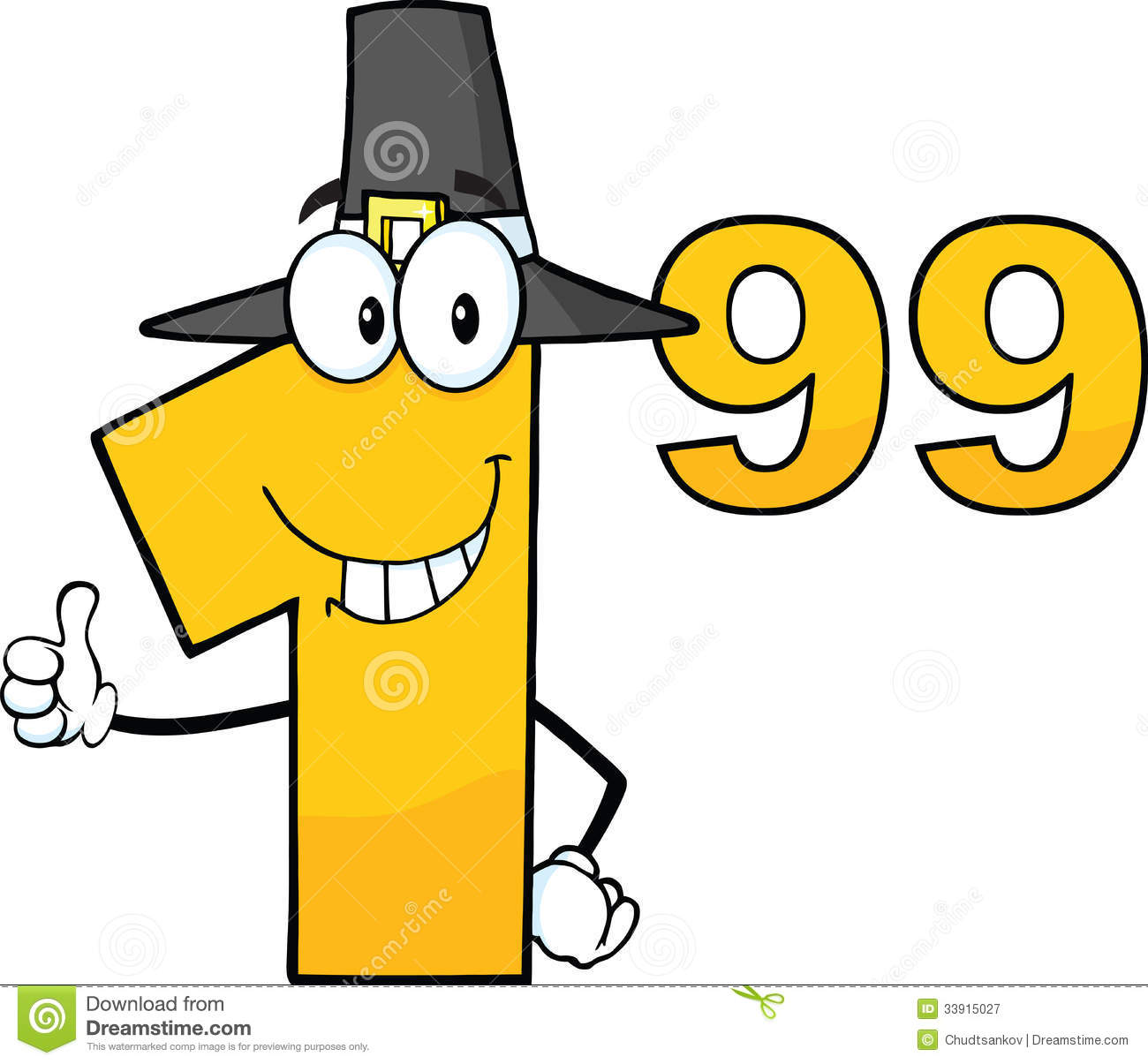 1 Cartoon Character : Price tag number with pilgrim hat cartoon character