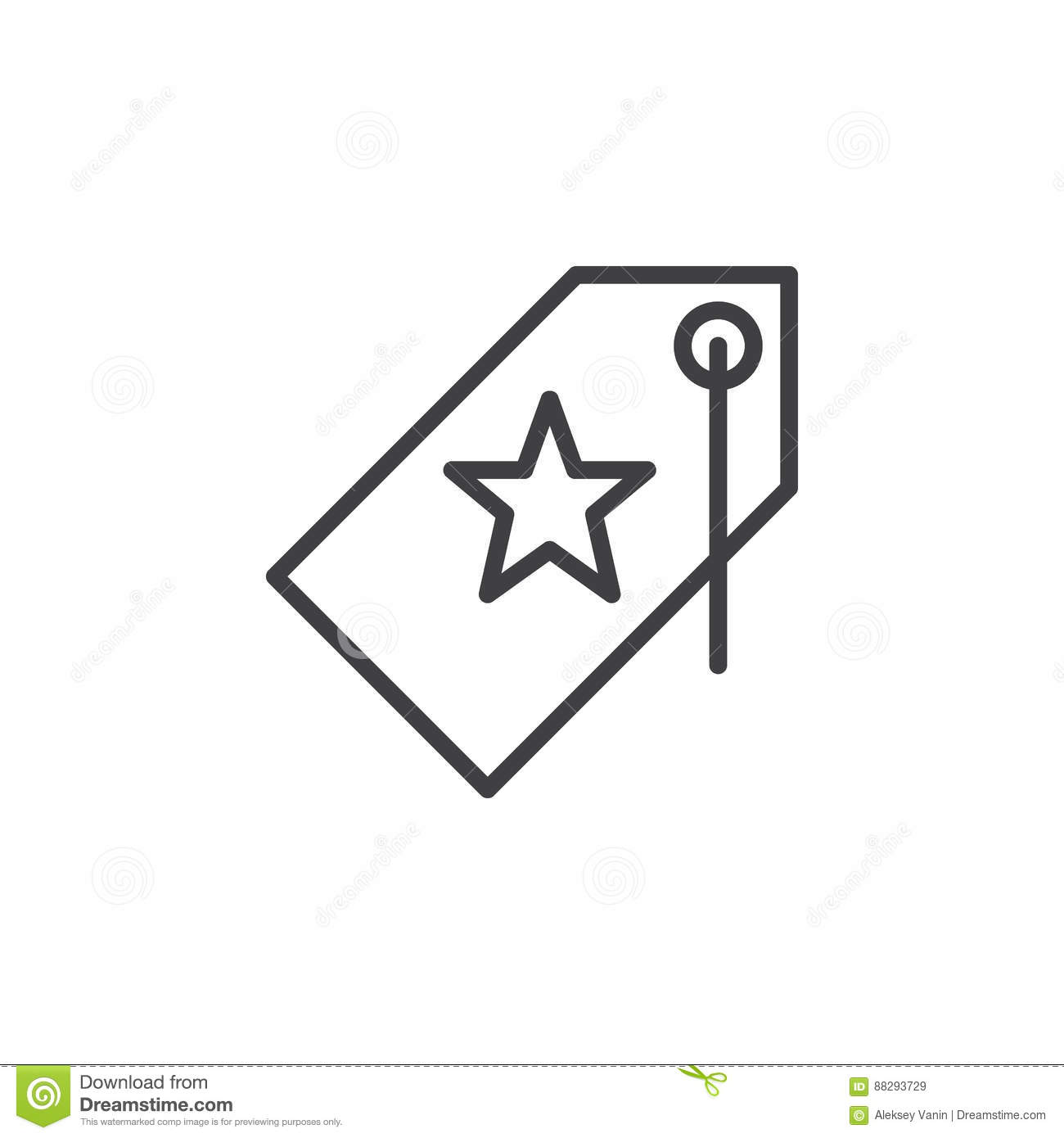 Price Tag With Star Line Icon, Outline Vector Sign Stock ...