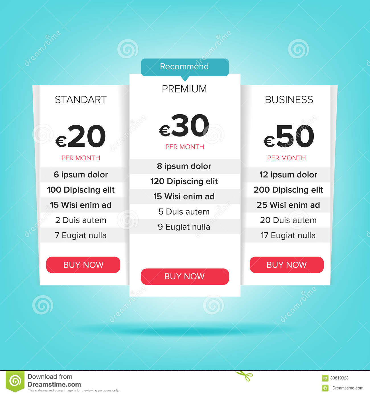 pricing business plans vector pricing plans template chart table