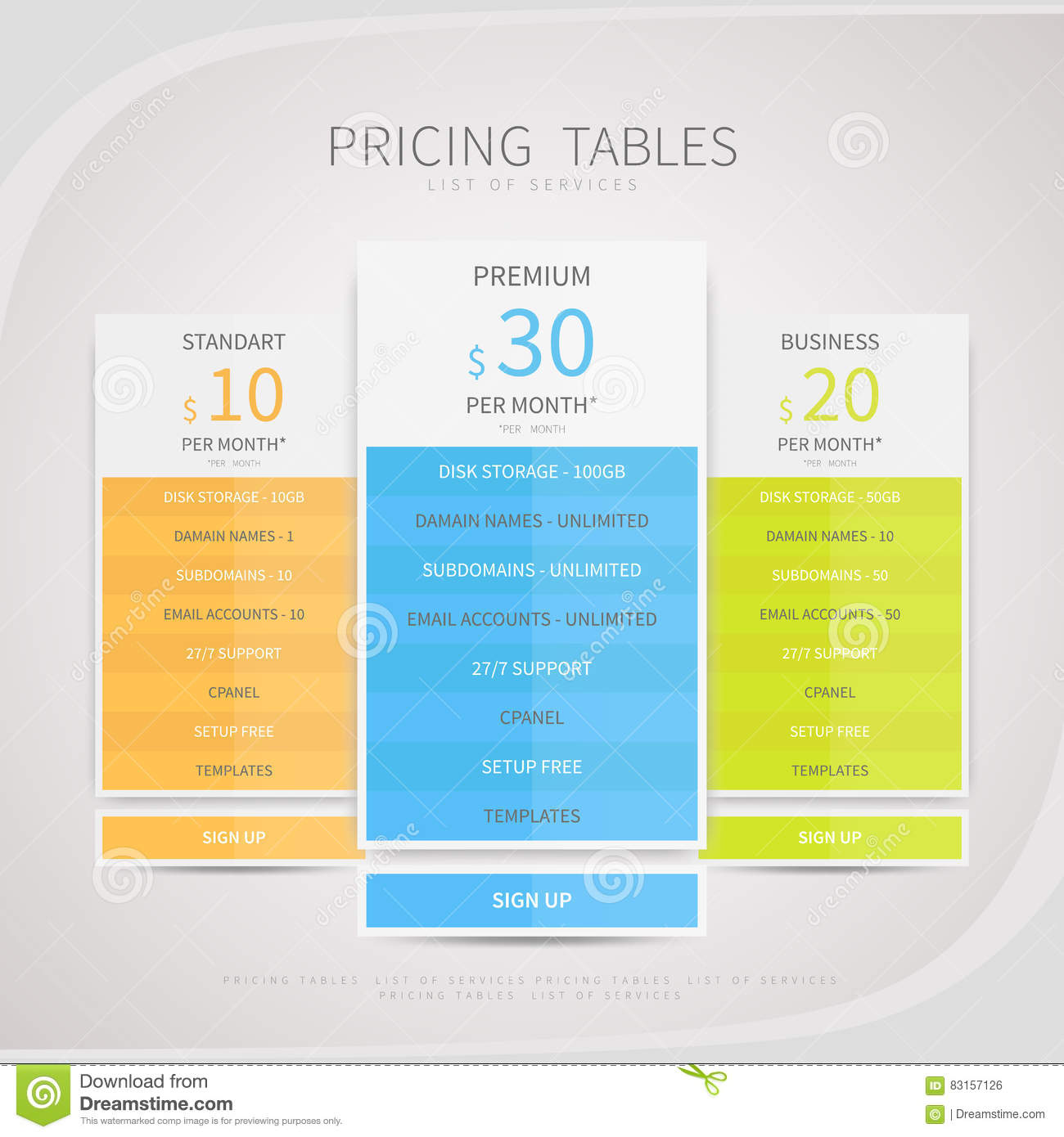 pricing comparison table set for commercial business web service