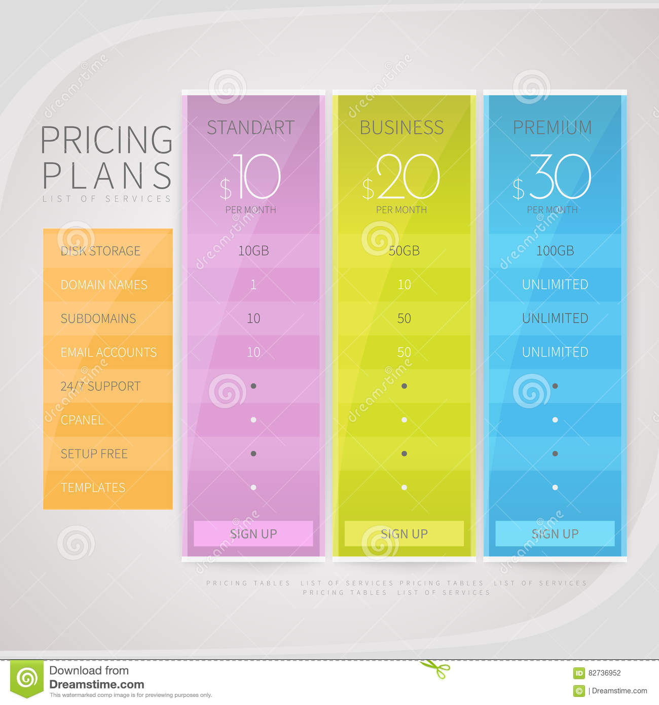 Business Pricing: Pricing Comparison Table Set For Commercial Business Web