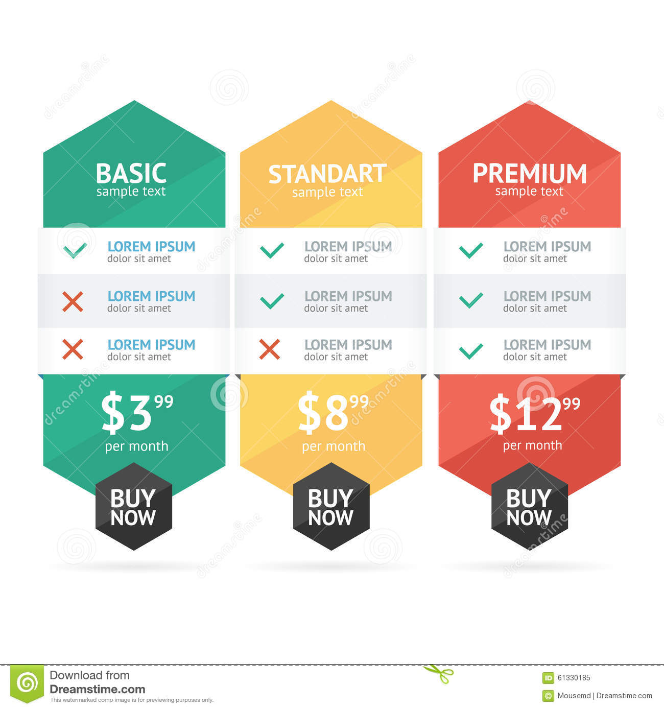 Pricing List Vector Stock Vector Image 61330185