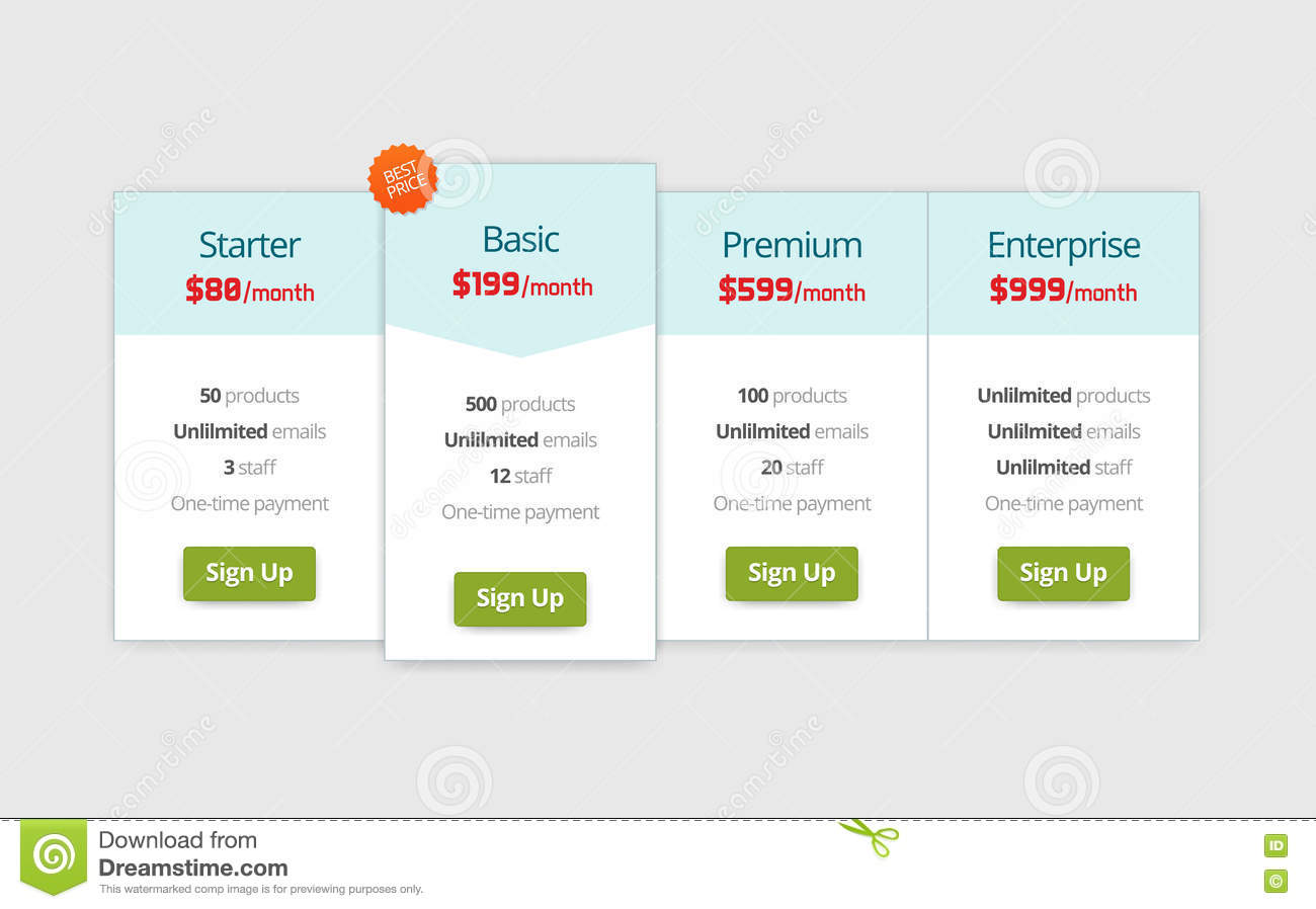 Web pricing table design royalty free stock photo for Table design web