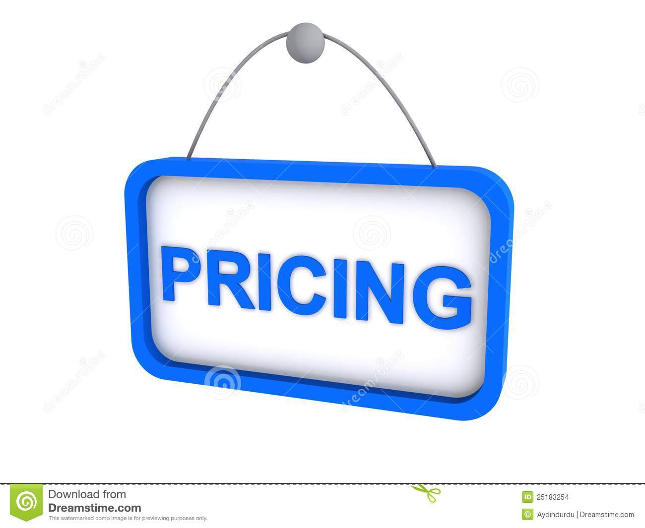 Blue 3D pricing sign illustration isolated against a white background.