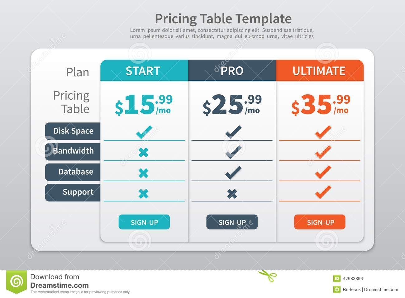 pricing table template graphic design stock vector - illustration of