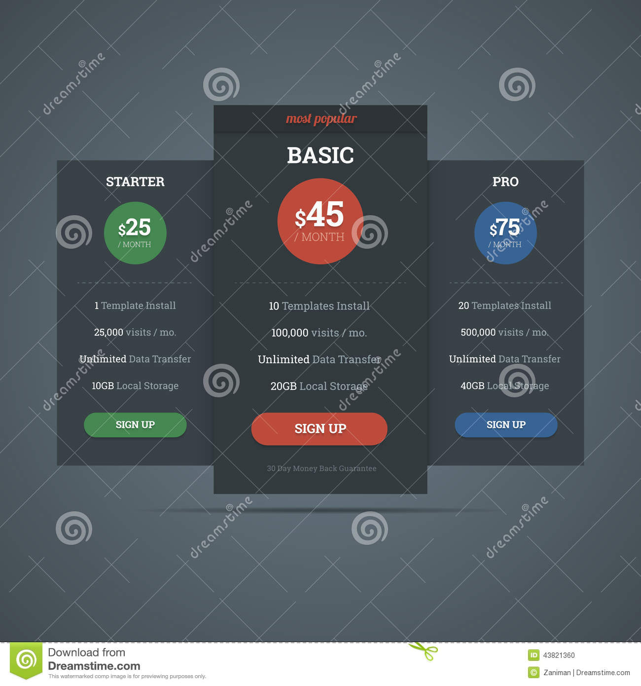 Pricing Table Template For Hosting Business With Three Plans. Ve ...