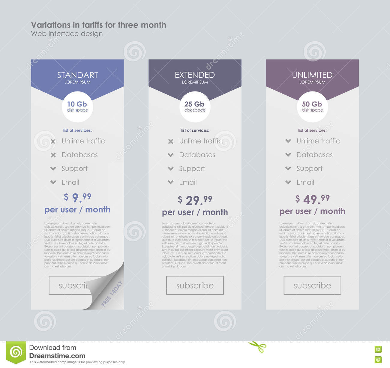 pricing table template with three plan type. stock vector