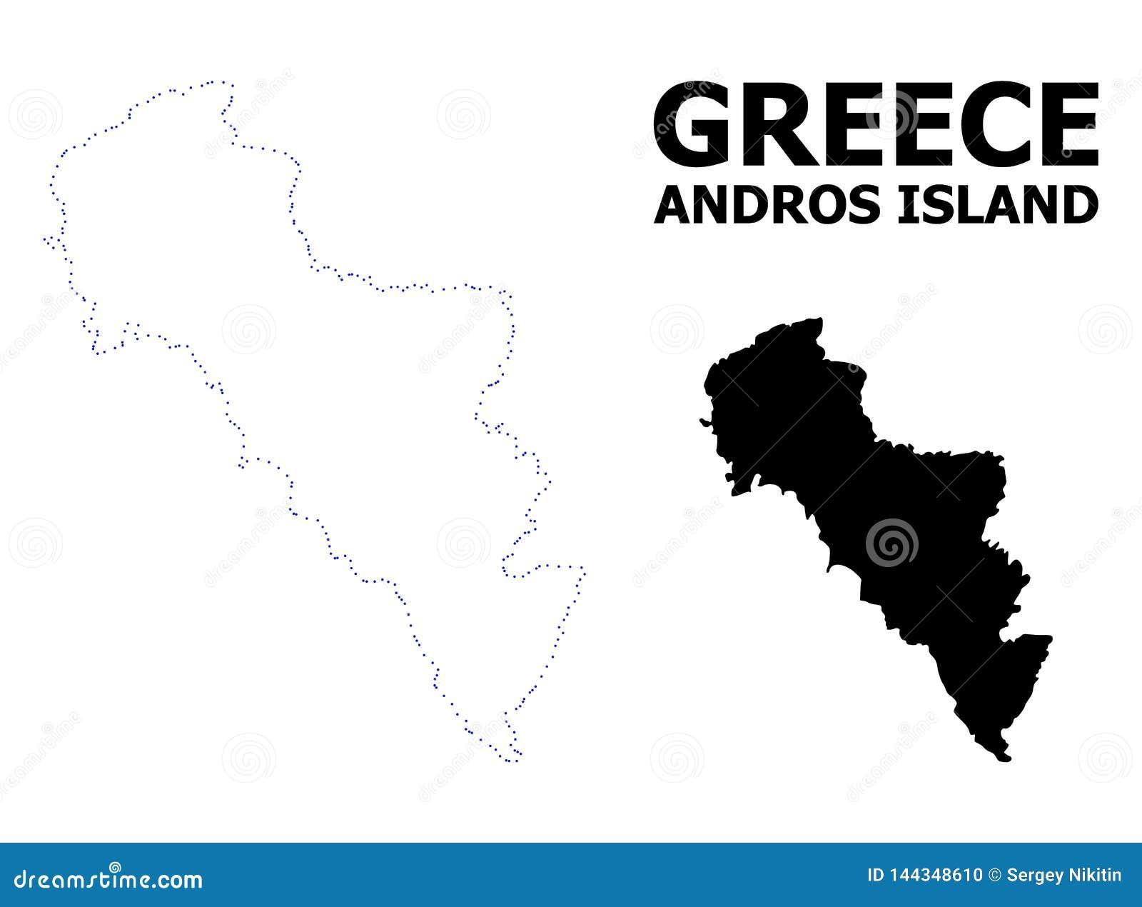 Prickig översikt för vektorkontur av den Grekland - Andros ön med namn