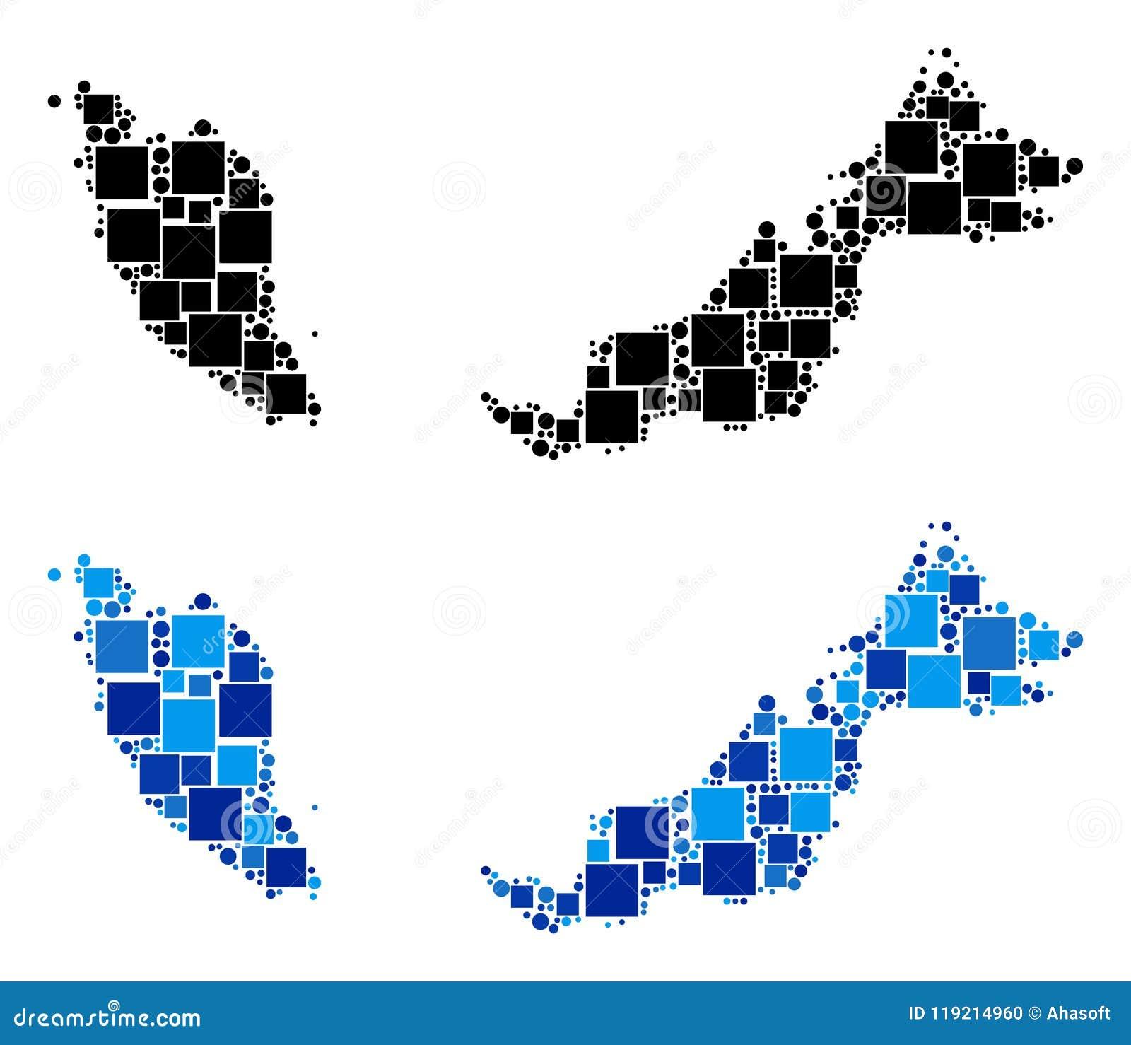 Prickig Malaysia översikt med blå version