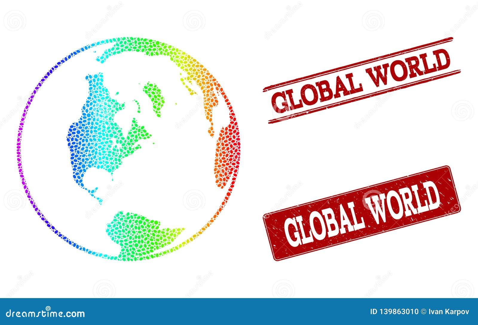 Prickig spektrumöversikt av globala världs- och Grungestämpelskyddsremsor