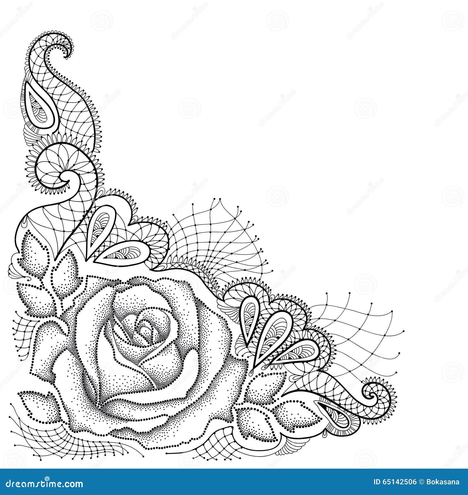 Prickigt steg med sidor, och dekorativt snöra åt i svart på vit bakgrund