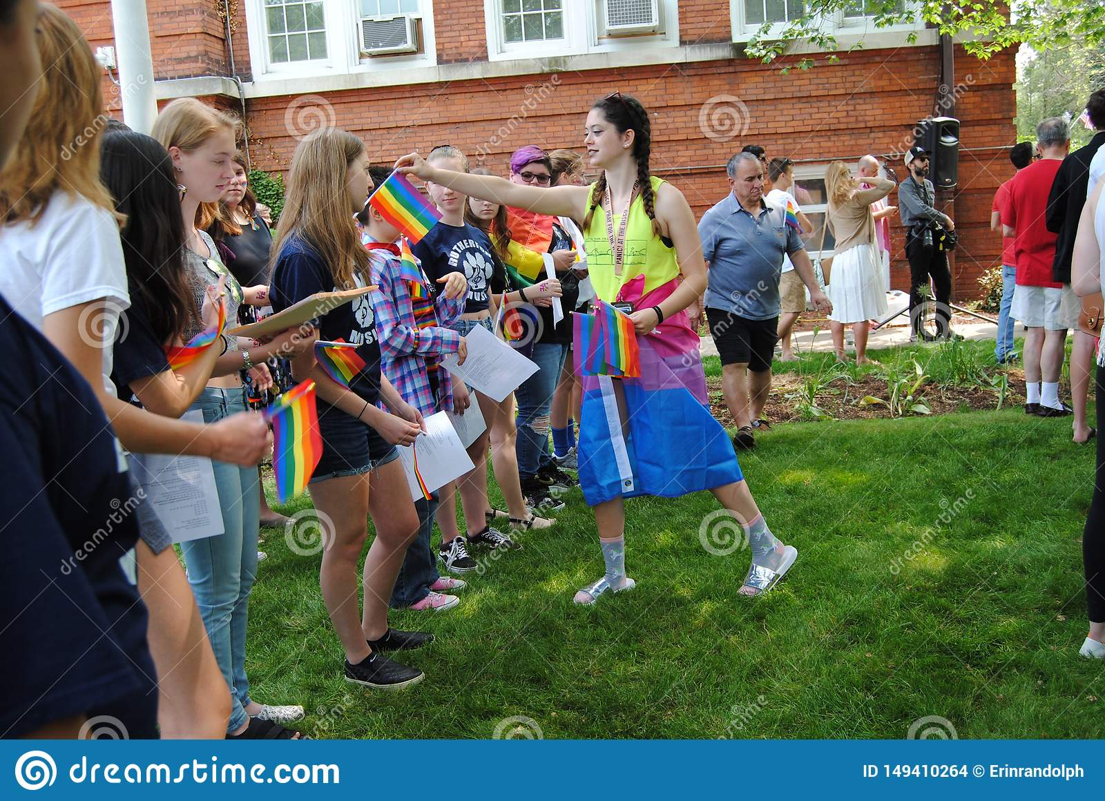 Pride Flags, Rainbow Flags at a Pride Flag Raising Event, Rutherford, NJ, USA