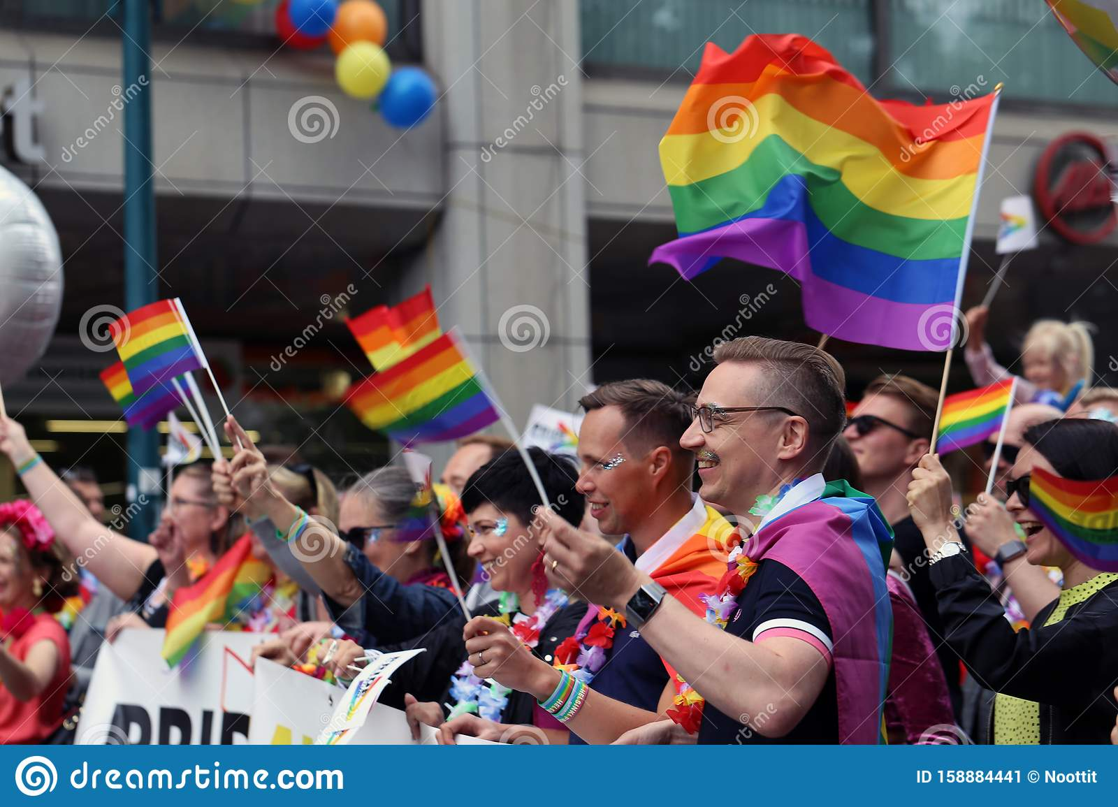 Pride Parade of Helsinki 2019: Rainbow Colored Flags and Accessories