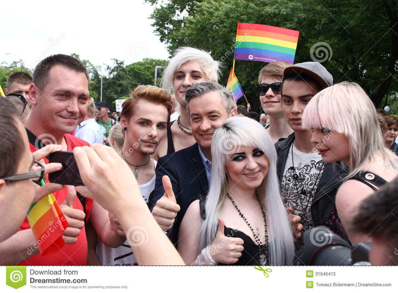 Stock Photos Pride Parade Warsaw Poland June Unidentified People Take ...