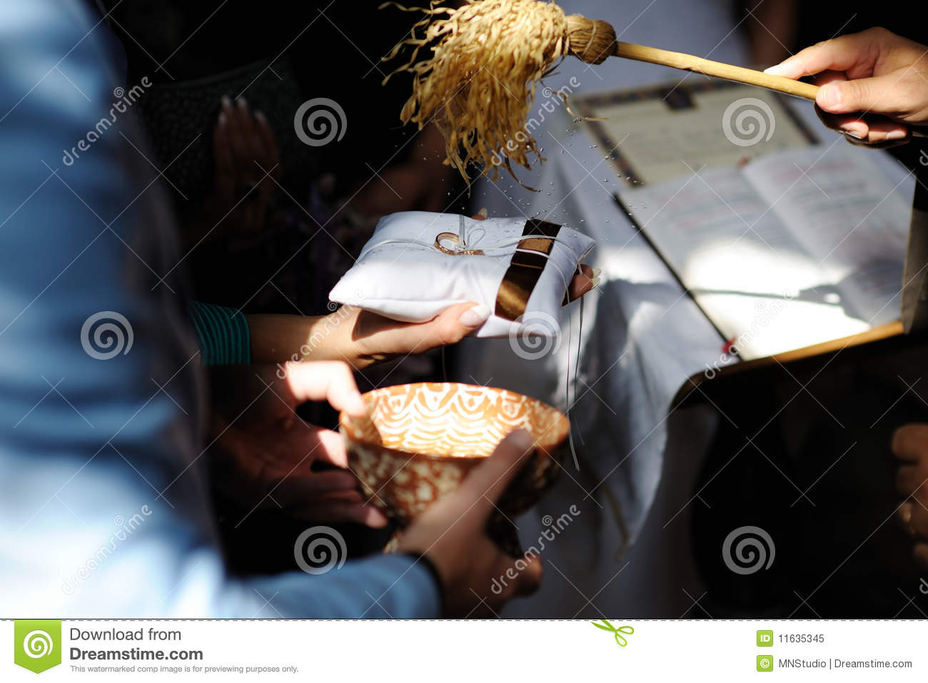 Priest Blessing Wedding Rings Stock Image Image of fancy jewel