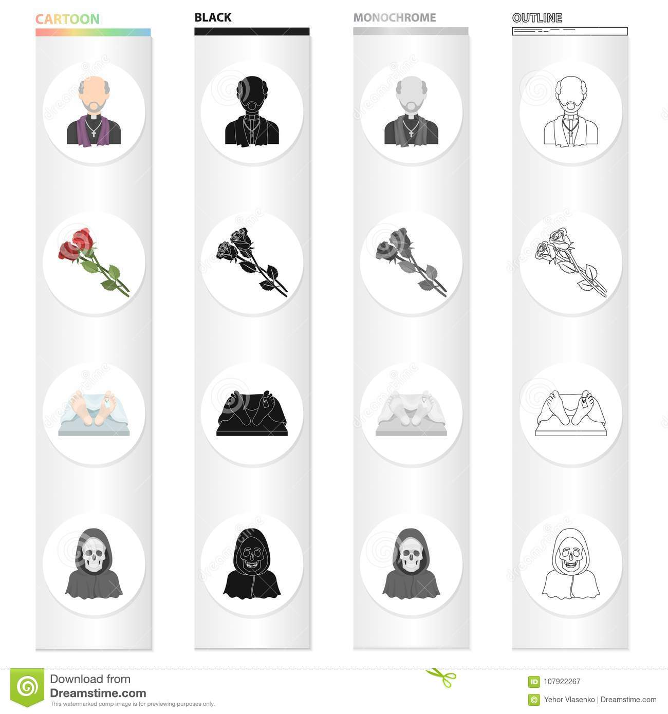A priest, flowers for a funeral, a deceased person, an image of death. Funeral ceremony set collection icons in cartoon