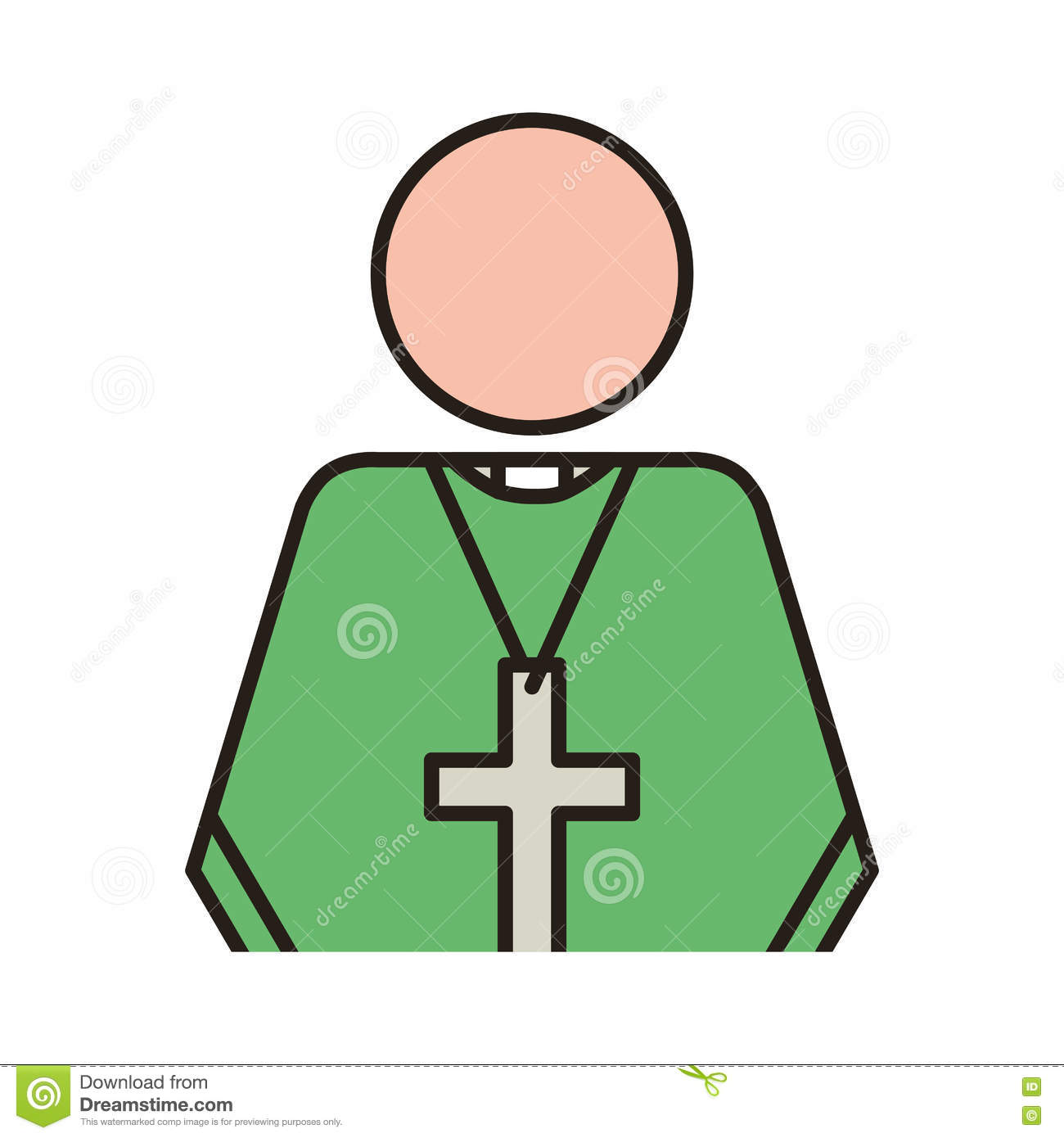 Priest With Religion Icons Stock Vector Illustration Of Design