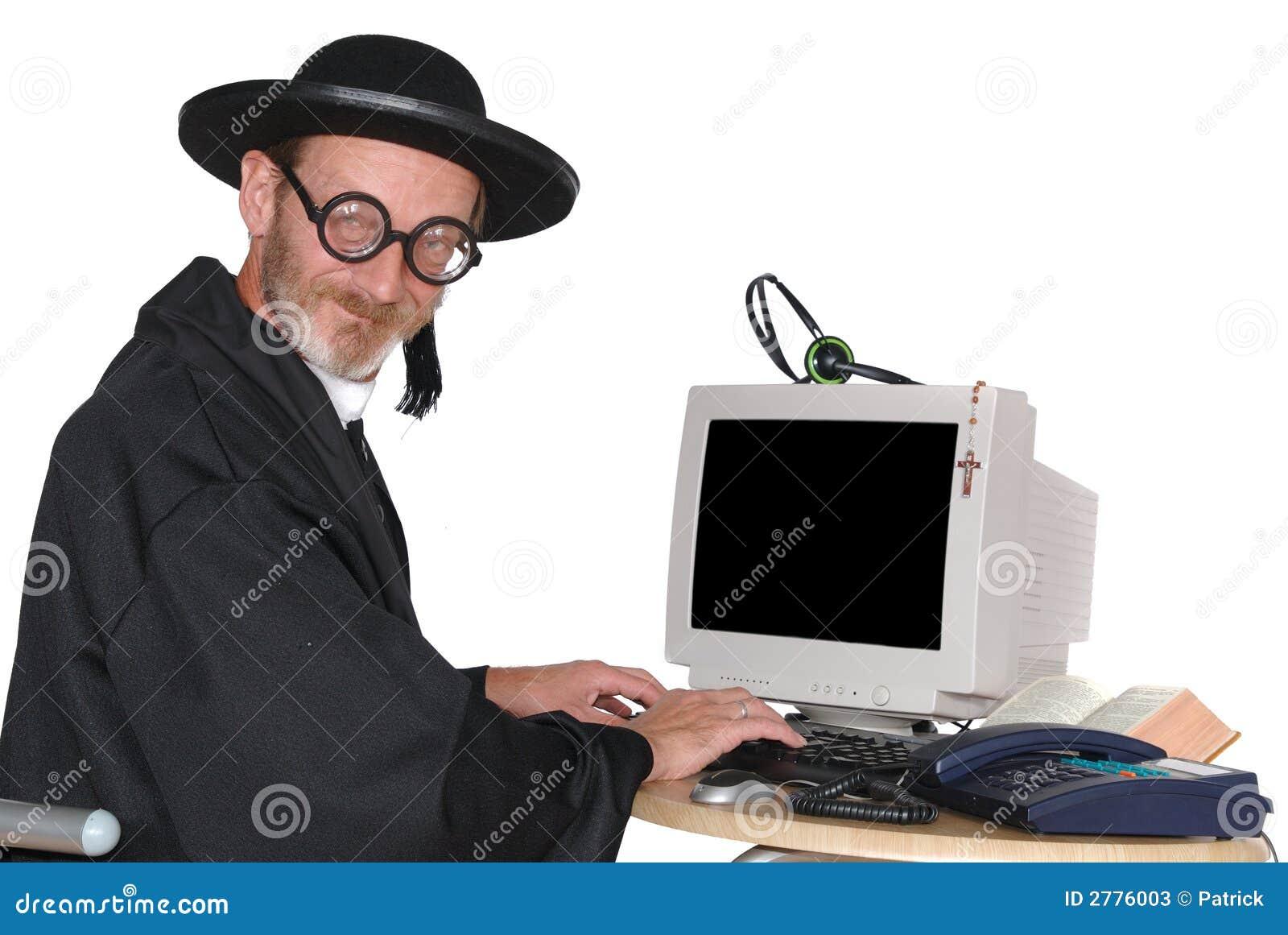 Priester Auf Computer Stockbild Bild Von Schwarzes Fromm 2776003