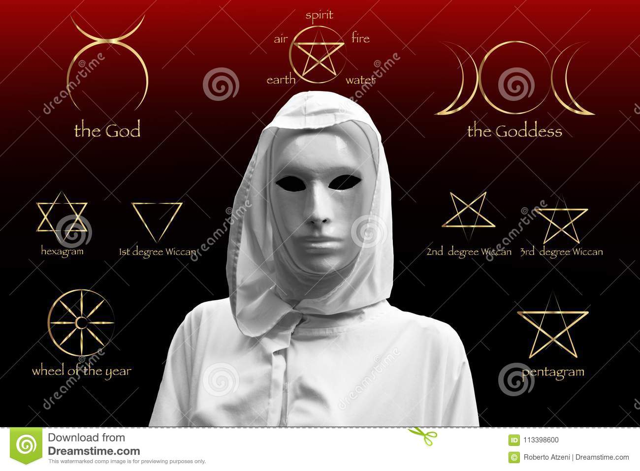 Priestess of red magic, sorcerers with magical mask occult Masonic Lodge. Golden Set of Witches runes, wiccan divination symbols.