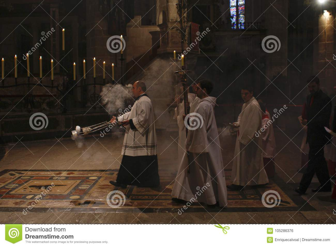 Priests at mass in Palma de Mallorca cathedral
