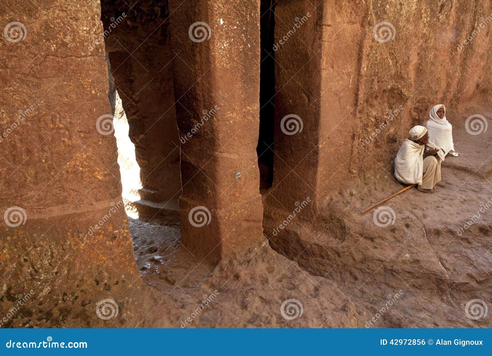 Priests sat outside, Lalibela