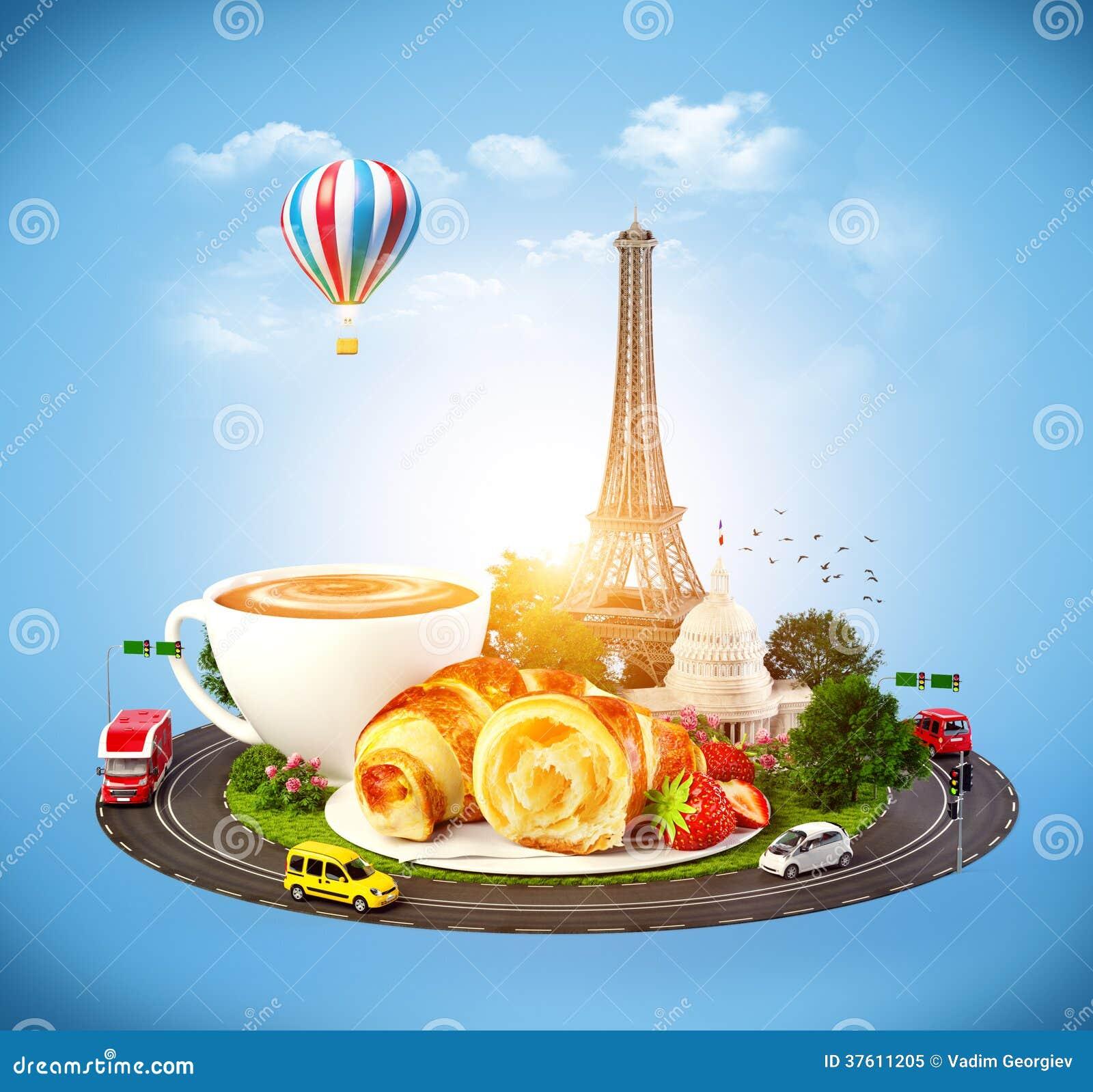 prima colazione a parigi fotografia stock libera da