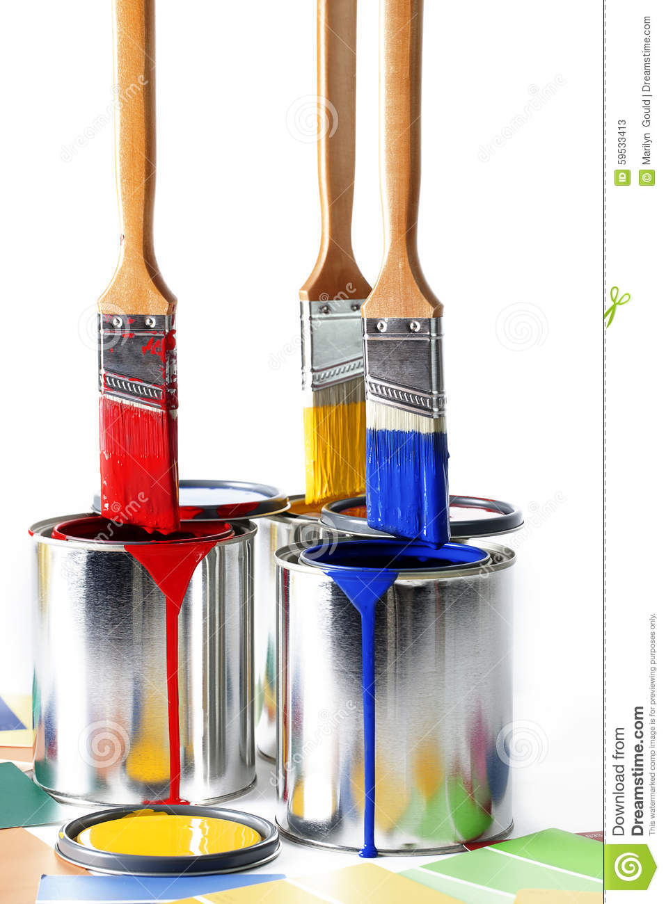 Darkbluepaintbrush: Primary Colors On Paint Brushes 2 Stock Photo