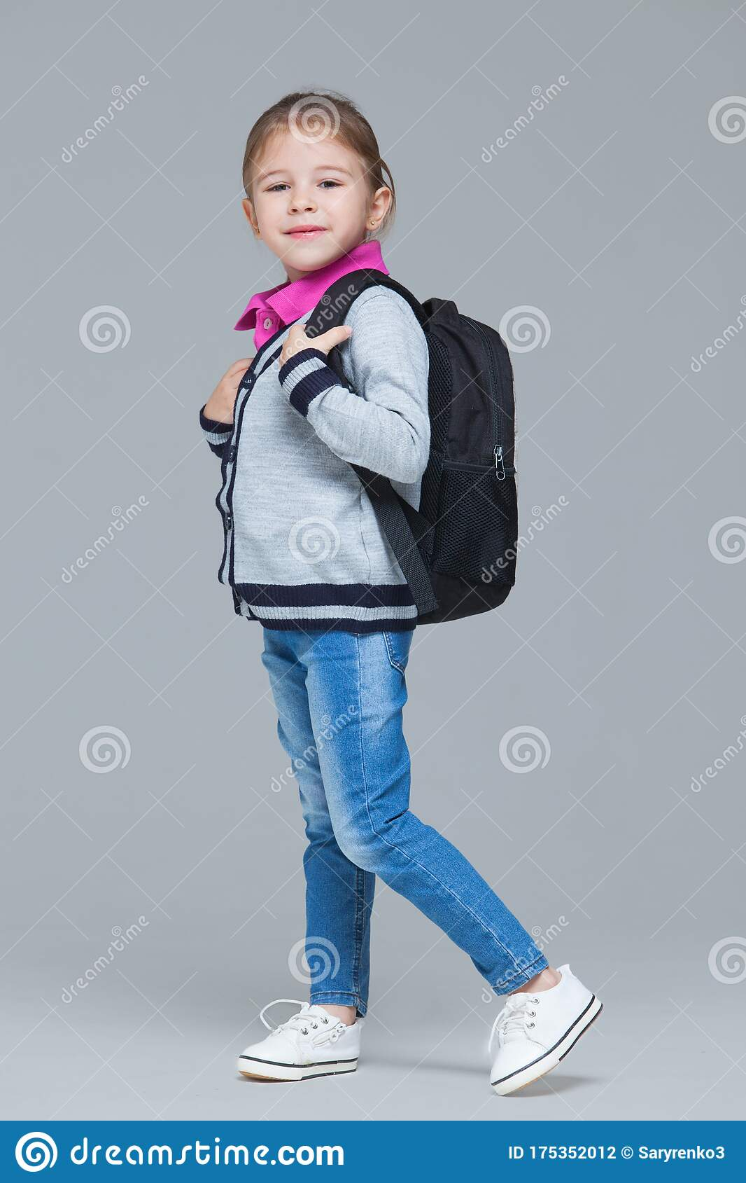 Schoolgirl Uniform Sitting Open Book Pencil Stock Photo