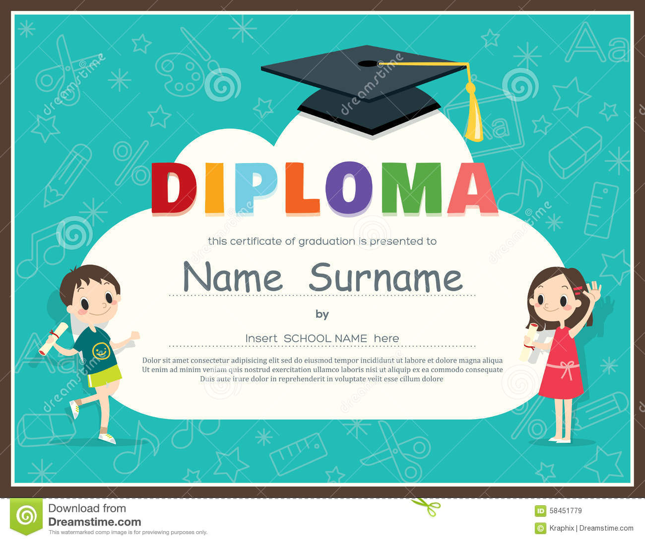 certificate of kids diploma preschool kindergarten template stock - Free Templates For Kids