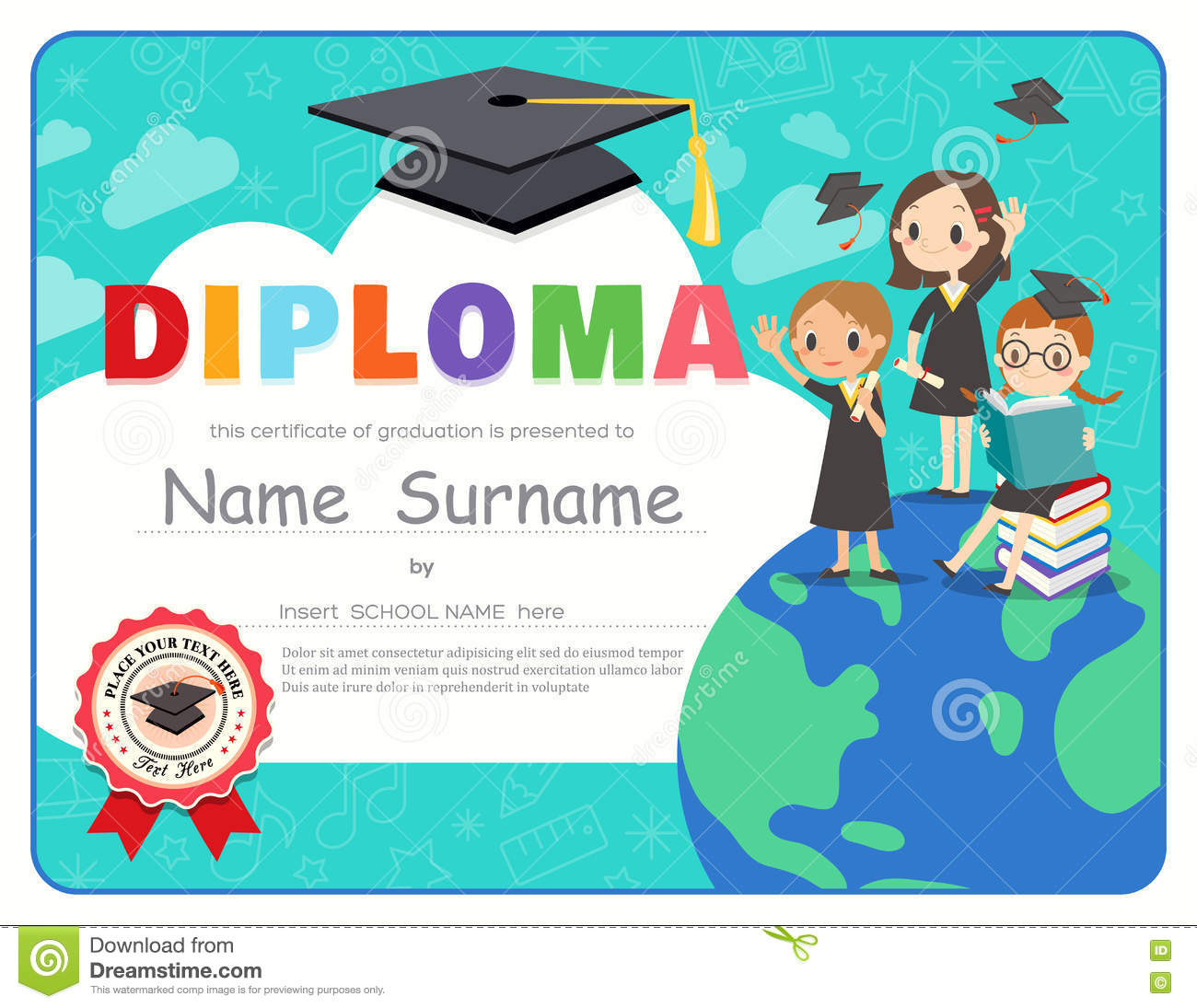 primary school kids graduation diploma certificate design template stock vector illustration. Black Bedroom Furniture Sets. Home Design Ideas