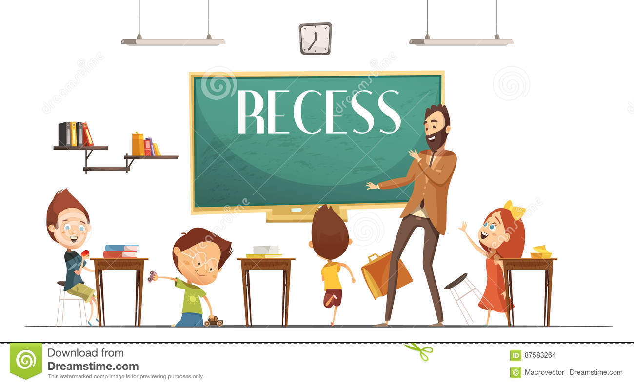 primary school recess break cartoon illustration stock vector