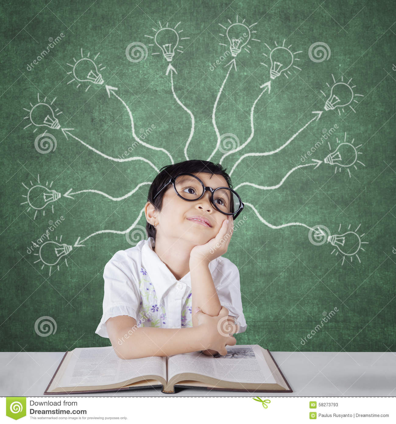Primary School Student With Branchy Light Bulb Stock Photo ...