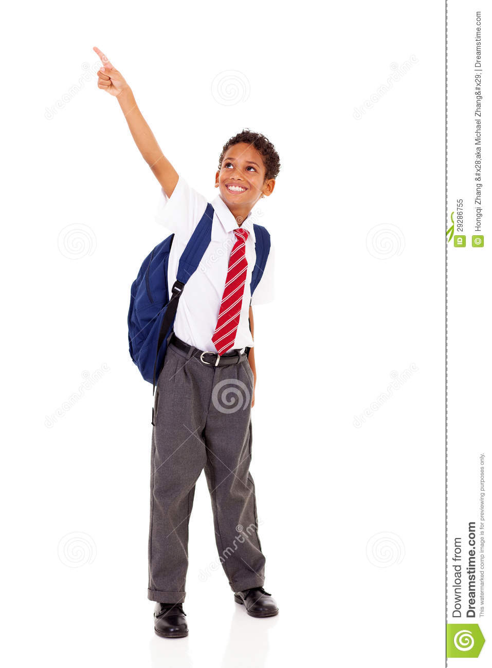 Primary schoolboy pointing stock image. Image of formal ...