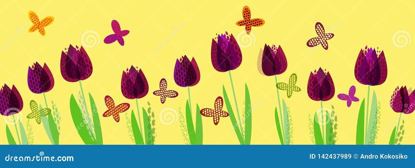 Primavera brillante abstracta, estampado de flores