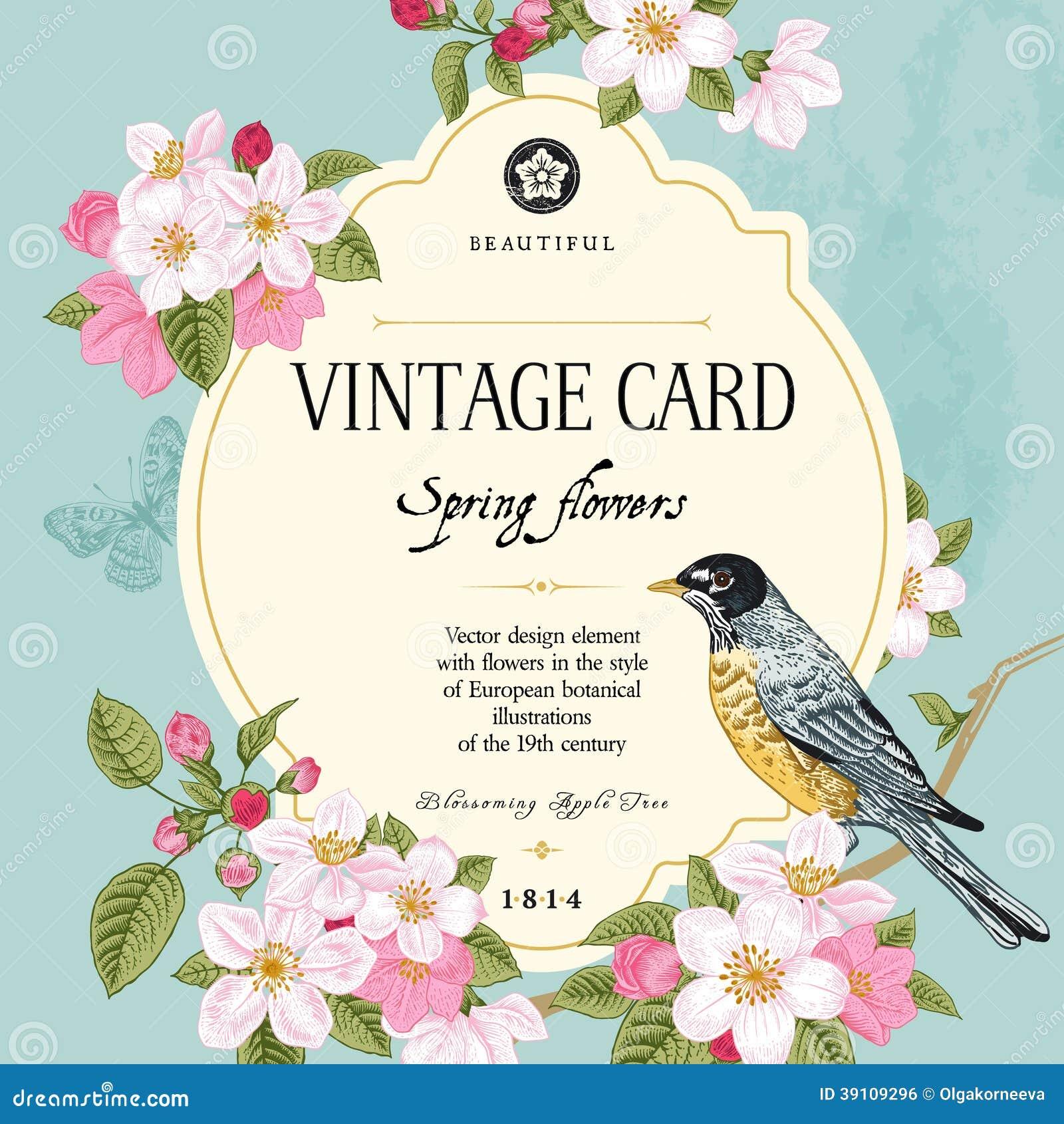 Primavera de la tarjeta del vector del vintage.