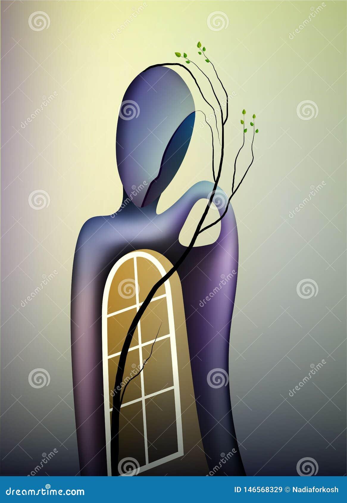 Primavera en concepto del alma, la forma de memorias, el hombre con la ventana abierta y la rama del árbol que crece interior, pr