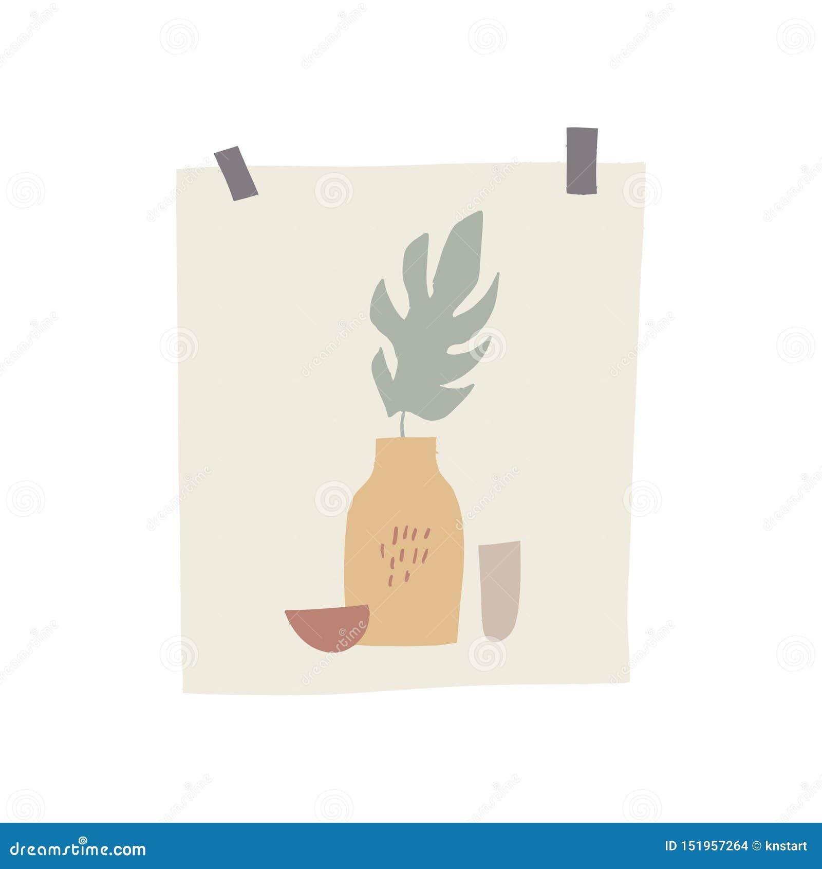 Primavera o elemento del tablero del humor del verano Decoración de moda en estilo escandinavo, postal exhausta de la mano con la