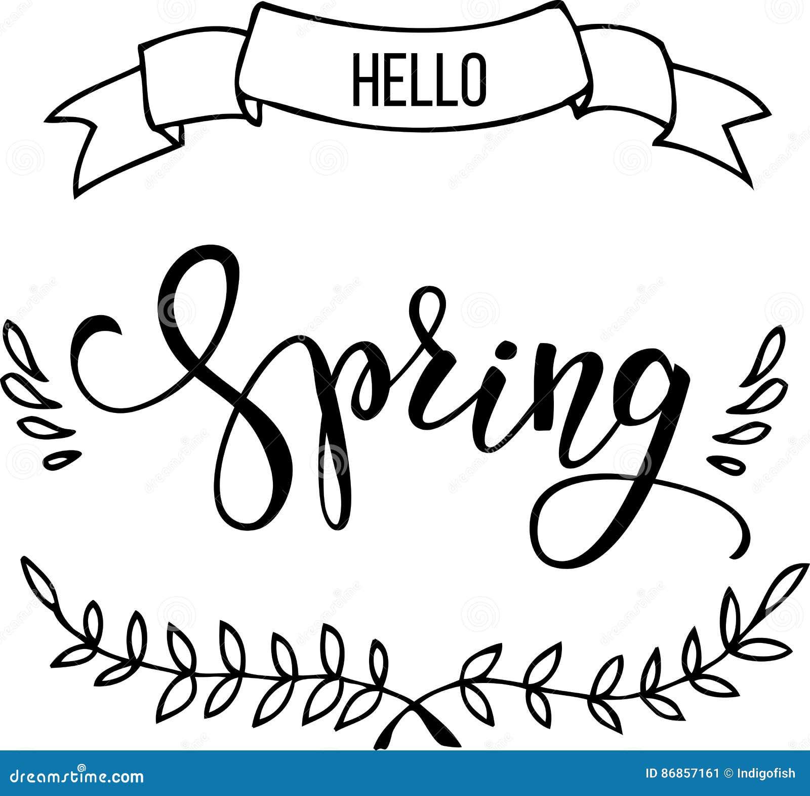 Primavera Original De Las Letras De La Mano Hola Ilustración del ...