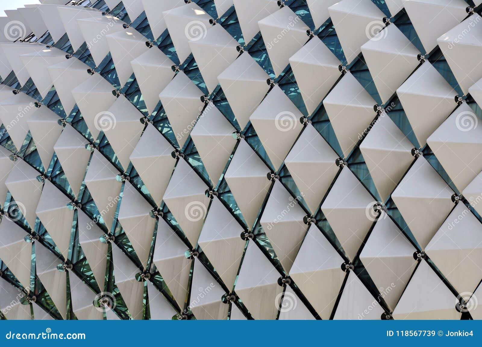 Primer con el modelo de la geometría de la terraza del tejado de la explanada, Singapur