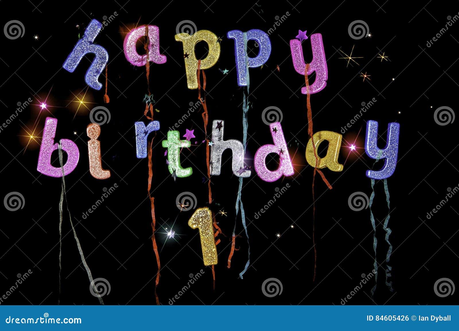 Primer Cumpleaños Feliz Foto De Archivo Imagen De Bandera