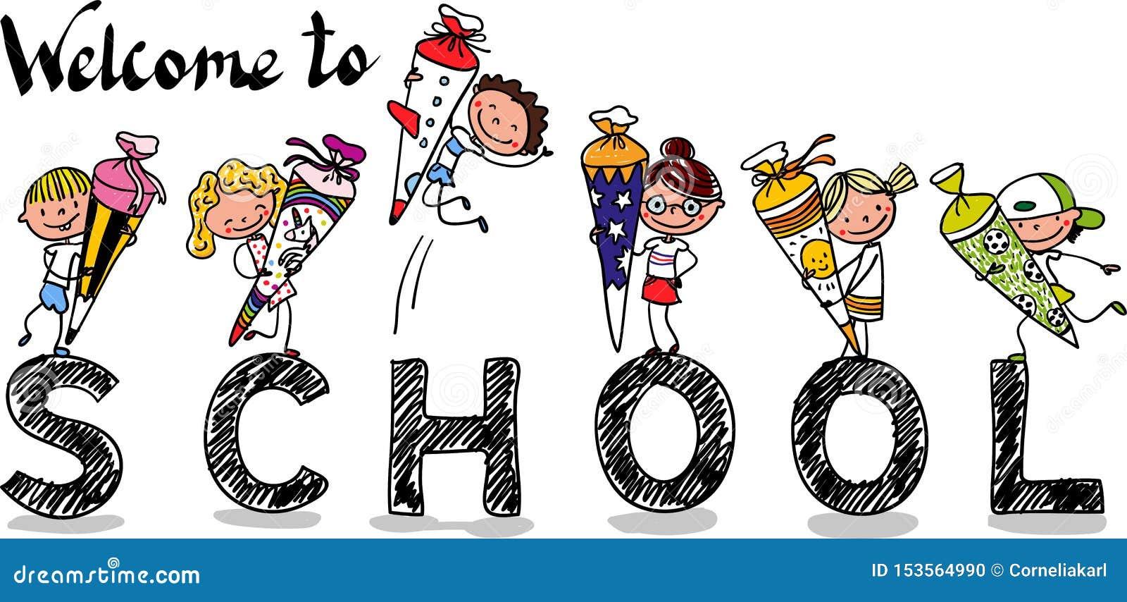 Primer día de escuela - colegialas y colegiales felices con los conos de la escuela - historieta exhausta de la mano colorida