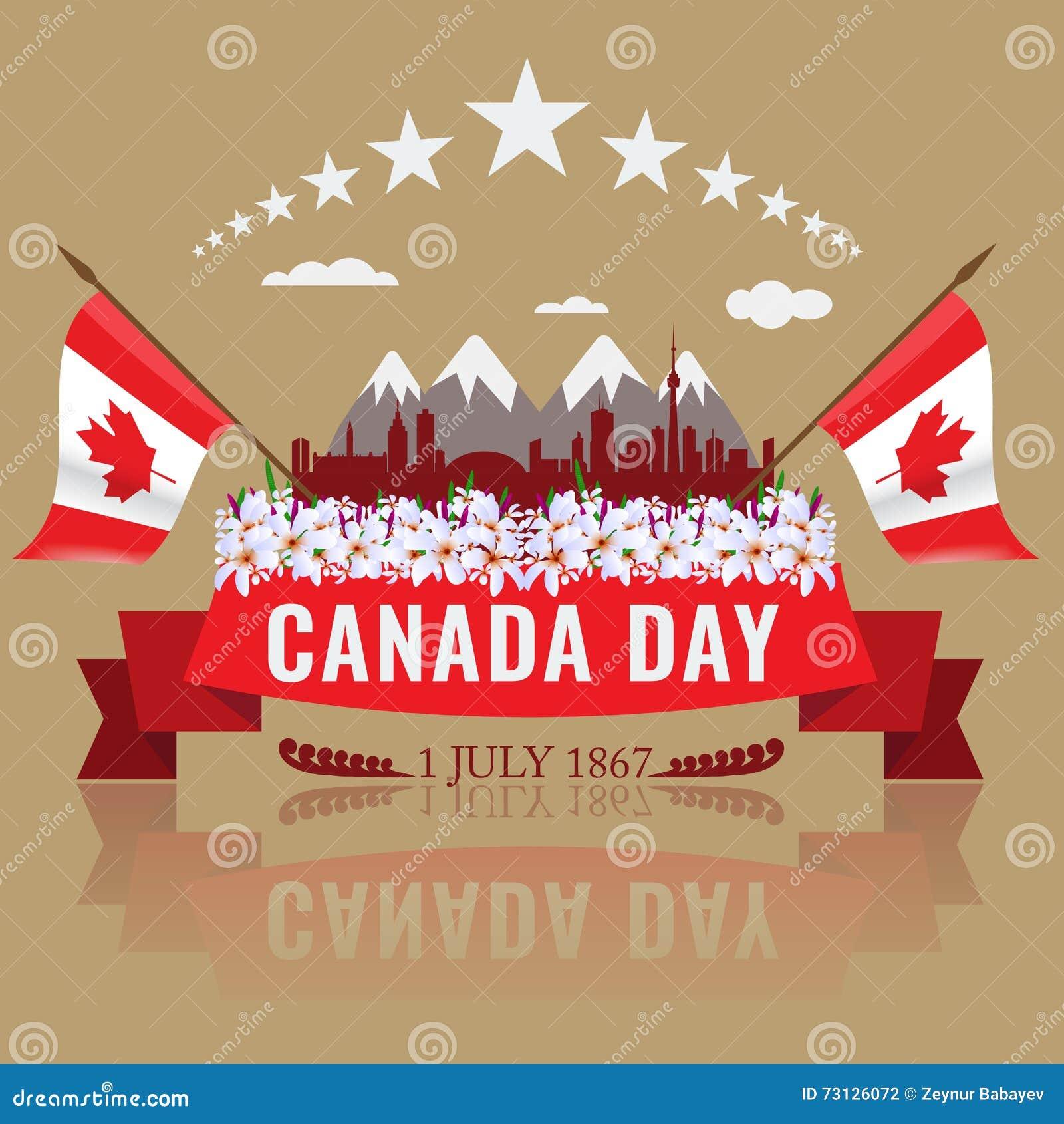 Primer Día Feliz De Julio Canadá Con La Bandera Que Agita ...