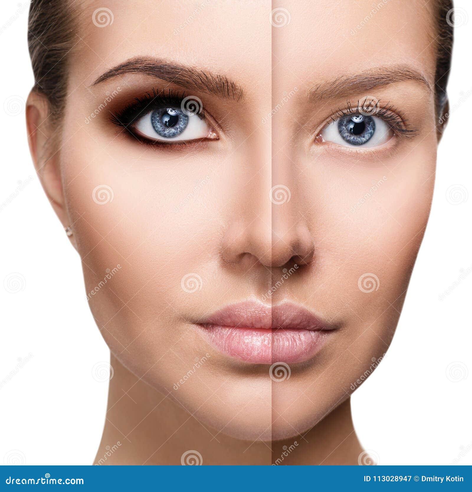 Primer de la cara del ` s de la mujer antes y después del maquillaje brillante