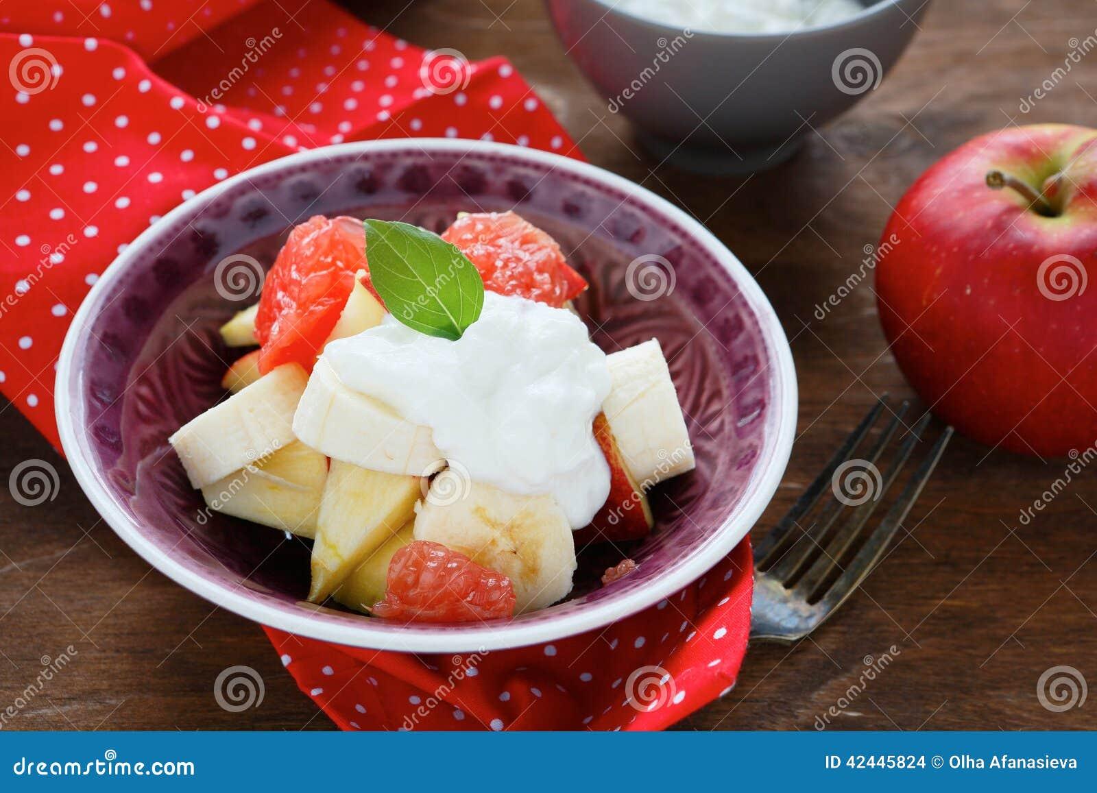 Primer de la ensalada de fruta
