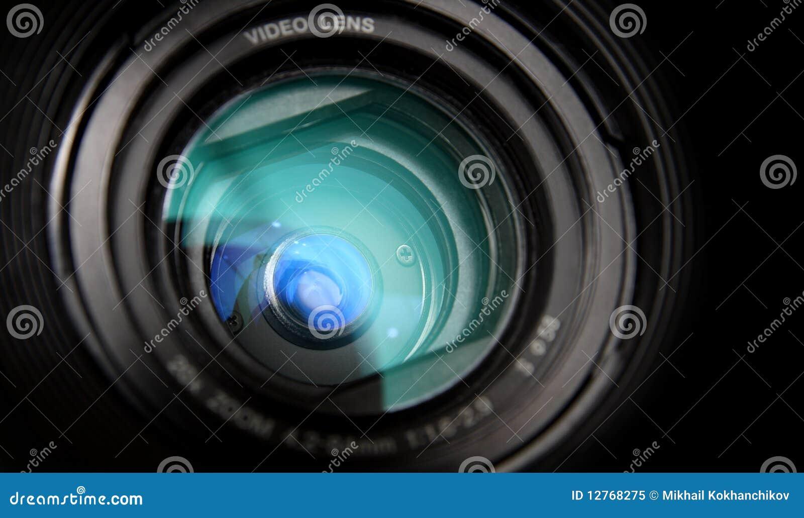 Primer de la lente de la cámara de vídeo