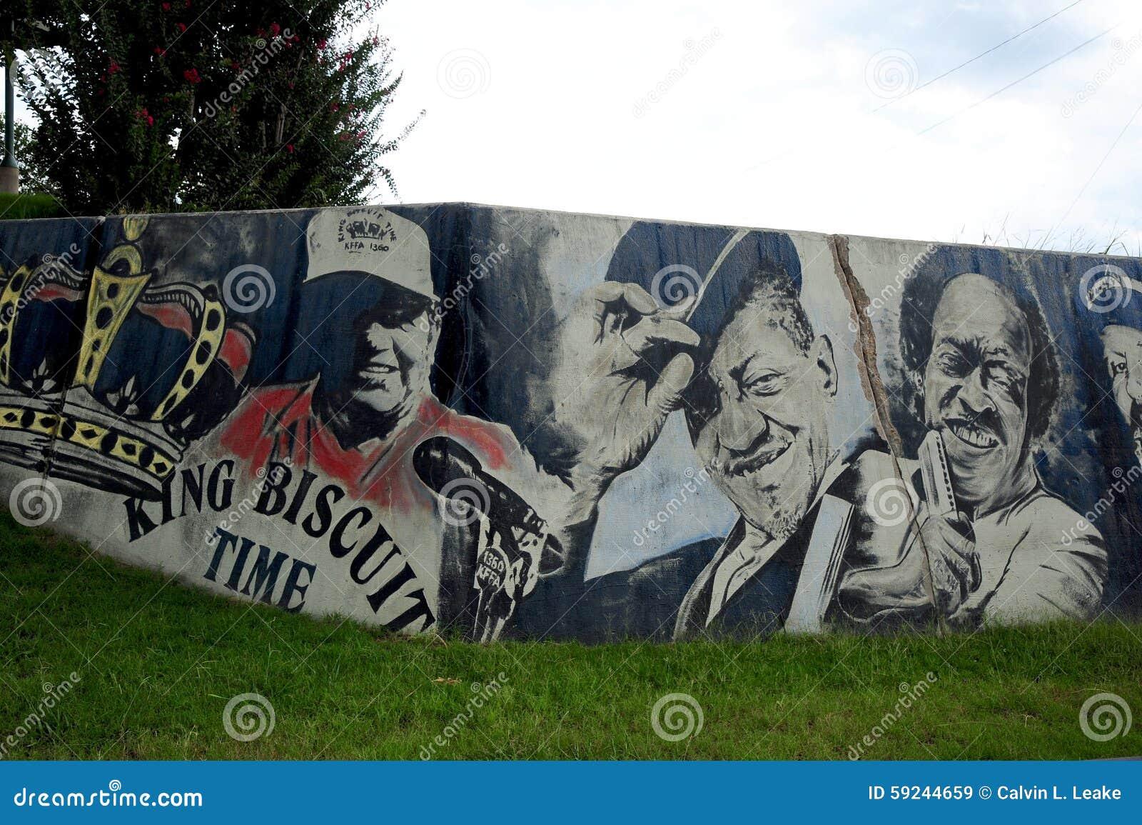 Primer de la pintura en Helena Levee Walk, Helena Arkansas de rey Biscuit Wall