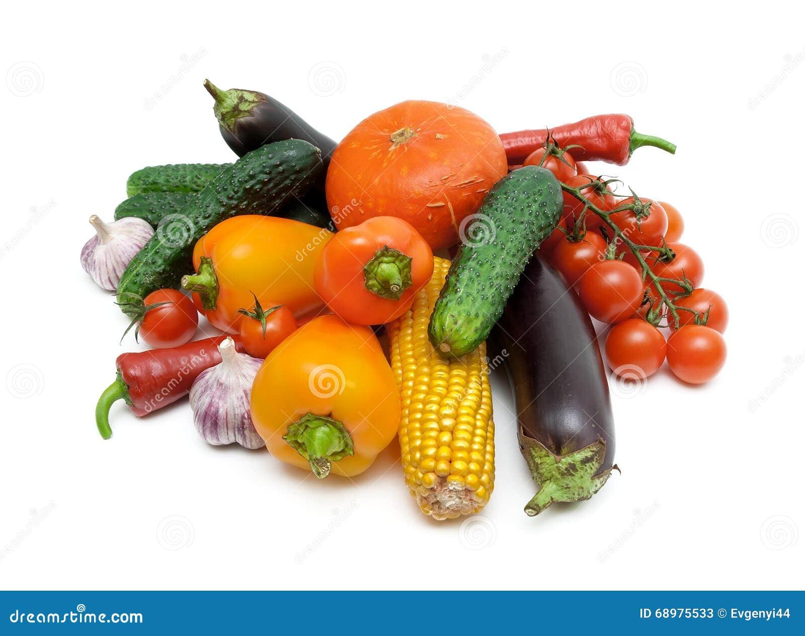 Primer de las verduras aislado en el fondo blanco